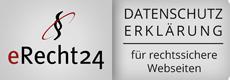 Das ist das Siegel von eRecht24 für Datenschutzseiten in Webseiten.
