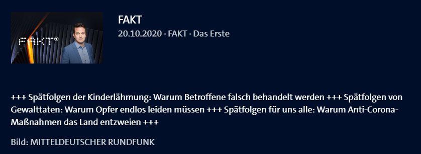 FAKT-20.10.2020 - Spätfolgen der Kinderlähmung